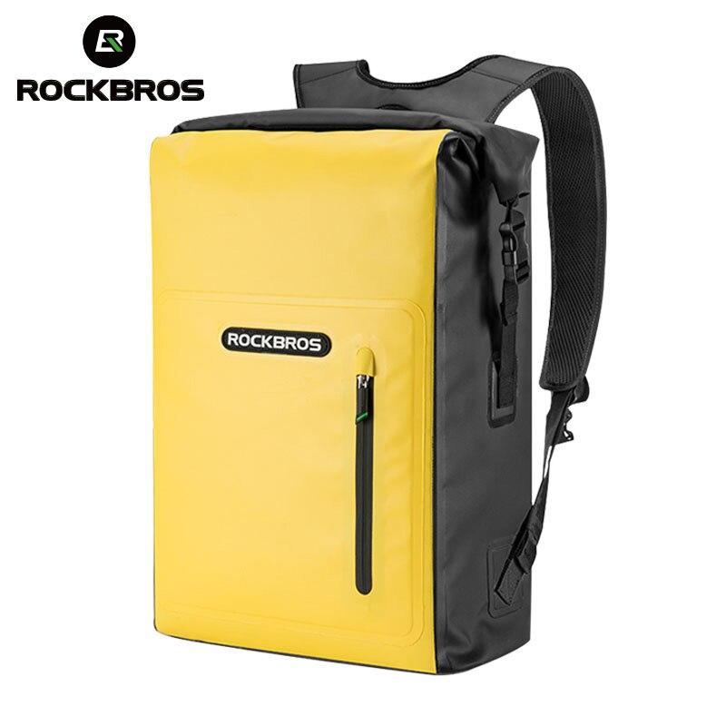 ROCKBROS Waterproof Sport Bag 25L Beach Bag Swimming PVC Travel  Bag Sandproof Roll Top Backpack Men Bicycle Dirtproof Dry Bag