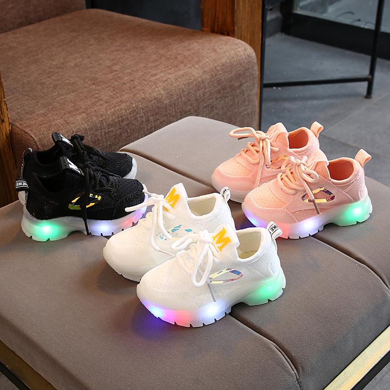 New M Style LED Shoes Baby Hot Sales Lace Up Solid Baby Casual Sneakers Classic Fashion 5 Stars Baby Boys Girls Sneakers Tennis