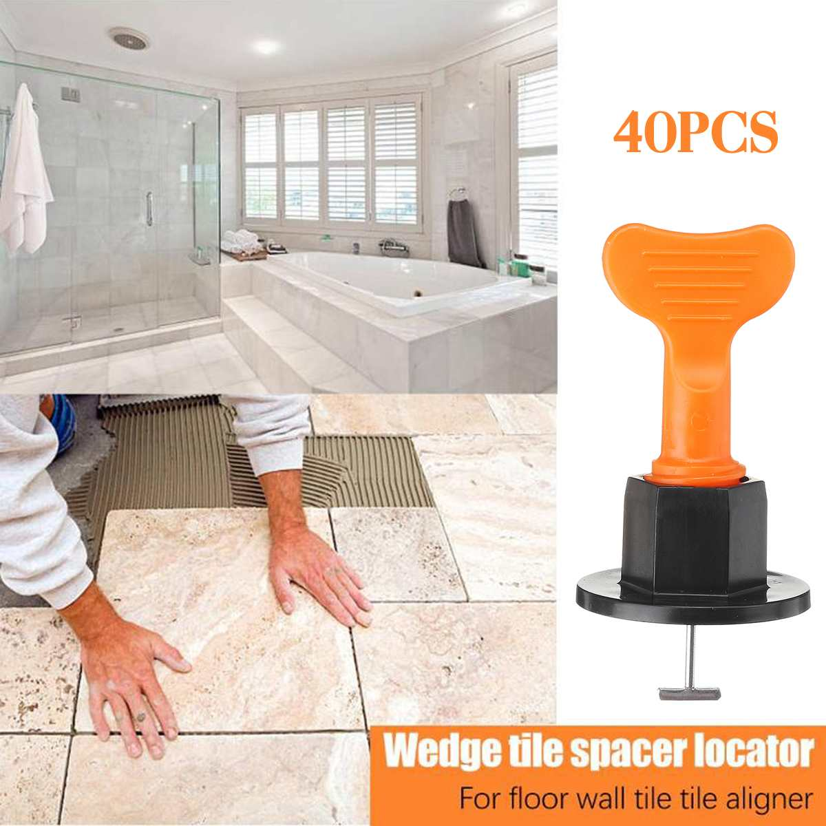 40Pcs/Set Alignment Tile Leveling System Flat Ceramic Leveler Floor Wall Construction Tools Locator Plastic