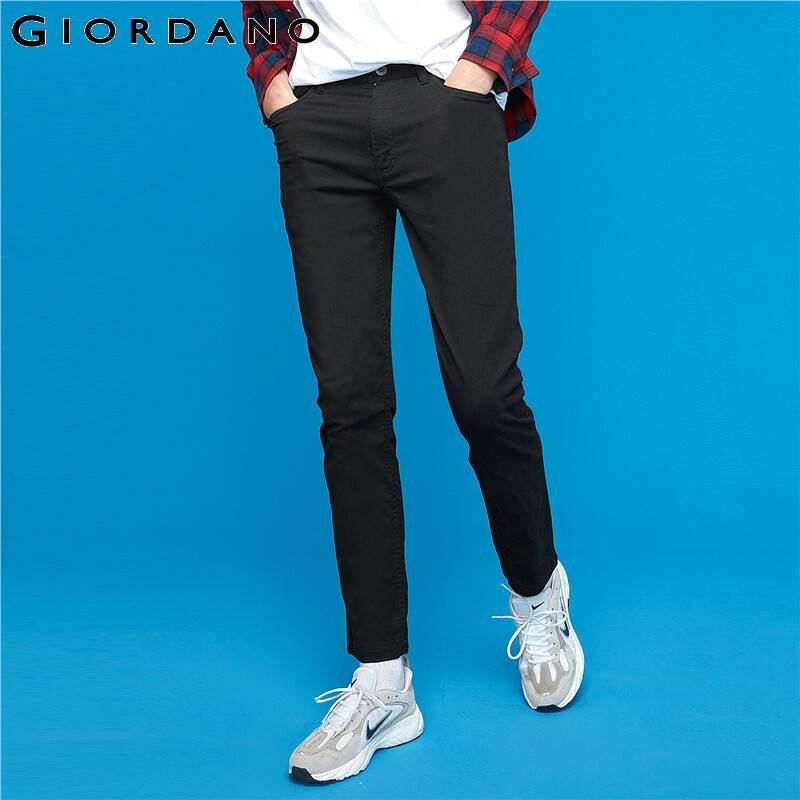 Giordano Men Pants Stretchy Stonewashed Slim Pants Zipper Fly Button Solid Color Pantalones Hombre 01119075