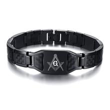 Masonic Bracelets Freemason Custom Logo Stainless Steel Black Carbon Fiber Link Bracelet