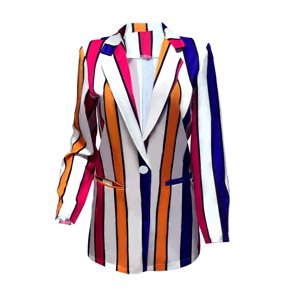 Echoine jacket women Fashion contrast color vertical striped blazer coat casual Personality female tweed long sleeve autumn lady