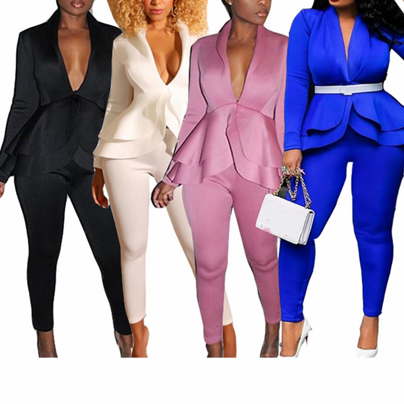 Women 2 Piece Set Long Sleeve Coat And Bodycon Trousers Pants V Neck Ruffles Sexy Fashion Suit Female Work Elegant Office Ladies
