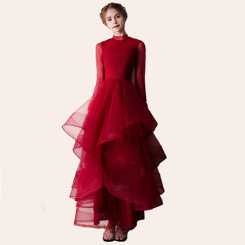 Red High Neck Evening Dresses Fashion Ruched Tulle Illusion Slim Long Sleeves Bride Gown Party Prom Dress Robe De Soiree