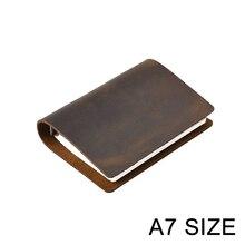 Cuaderno de negocios clásico A7, gran oferta, cubierta de cuero genuino, agenda de hojas sueltas, diario de viaje, planificador de bocetos