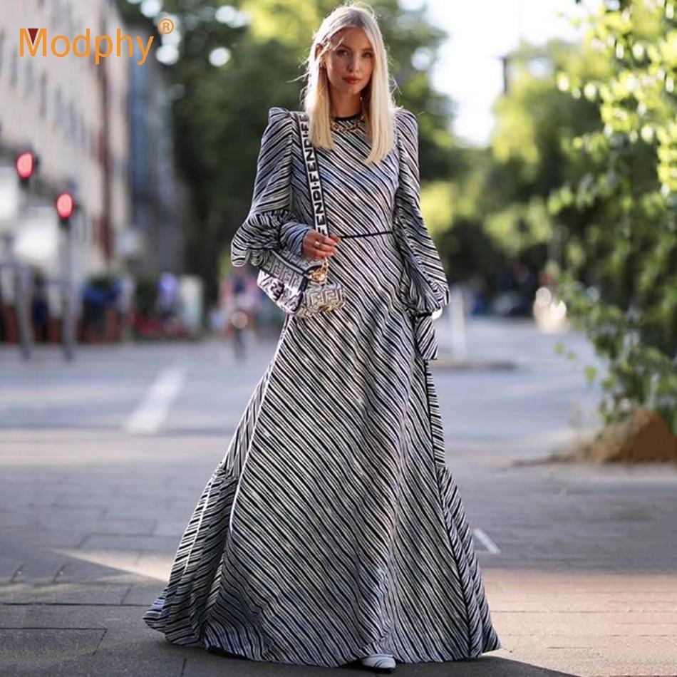 Elegant Diagonal Stripes Women Long Dress Sexy Long Lantern Sleeve Celebrity Evening Party Dress Female 2020 Autumn Fashion New