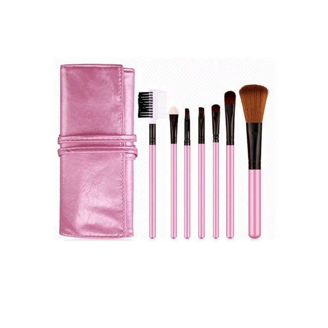 Bioaqua 7pcs/set Professional Pink Makeup Brush Set with Soft Cosmetic Bag Case