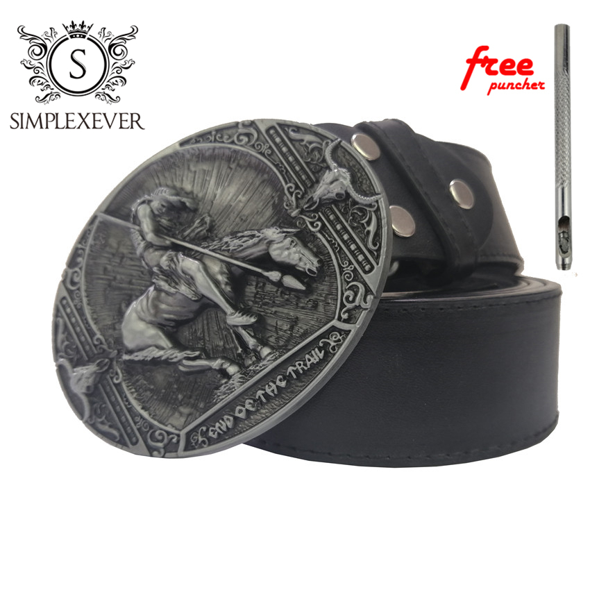 Cowboy Belt Buckle With Leather Belt Western Cowboy Rodeo Belt Buckles For Men And Women Gift For Man Boy Friend Father