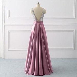 Image 4 - Beleza emily sequined uma linha cinza vestidos de noite 2020 longo decote em v vestidos de noite formais festa de formatura formal vestidos de festa