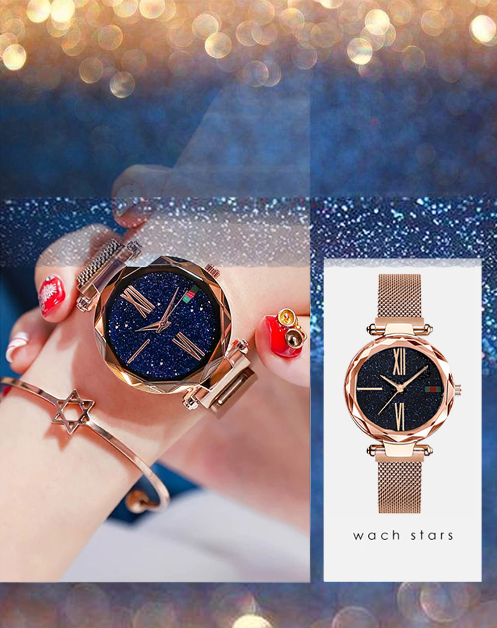 Luxury Minimalism Starry sky Magnet Rose Gold Women Watches 11