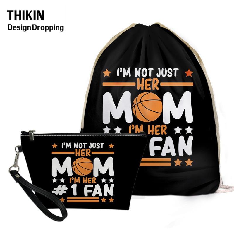 THIKIN Fashion Basketball Mom Pattern Drawstring Bag Backpack 2020 Summer 2pcs/sets Women Leather Makeup Pouch Kids Mochila
