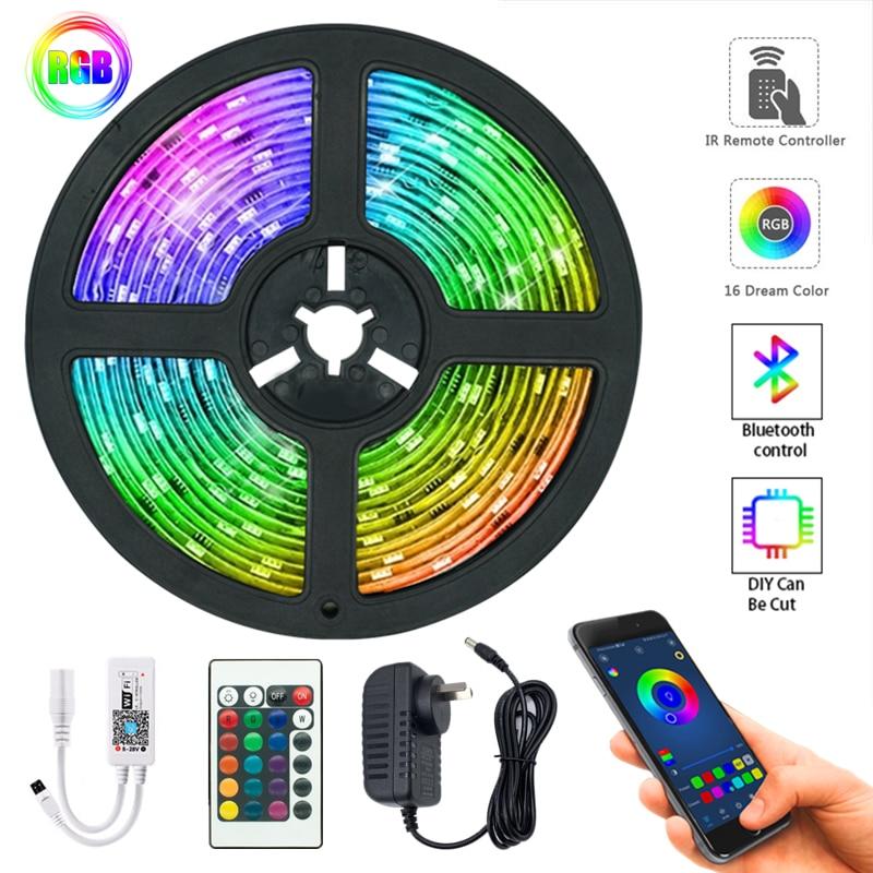 Tiras de luz LED controlador WIFI Bluetooth Flexible RGB 5050, lámpara de luz de fondo, luz nocturna, cadena luminosa para dormitorio