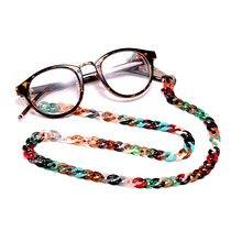 Cadena de gafas de sol acrílicas de 72cm para mujer, MOON GIRL antideslizante para leer, Clip de cinta, soporte de máscara, correa para el cuello, cordón