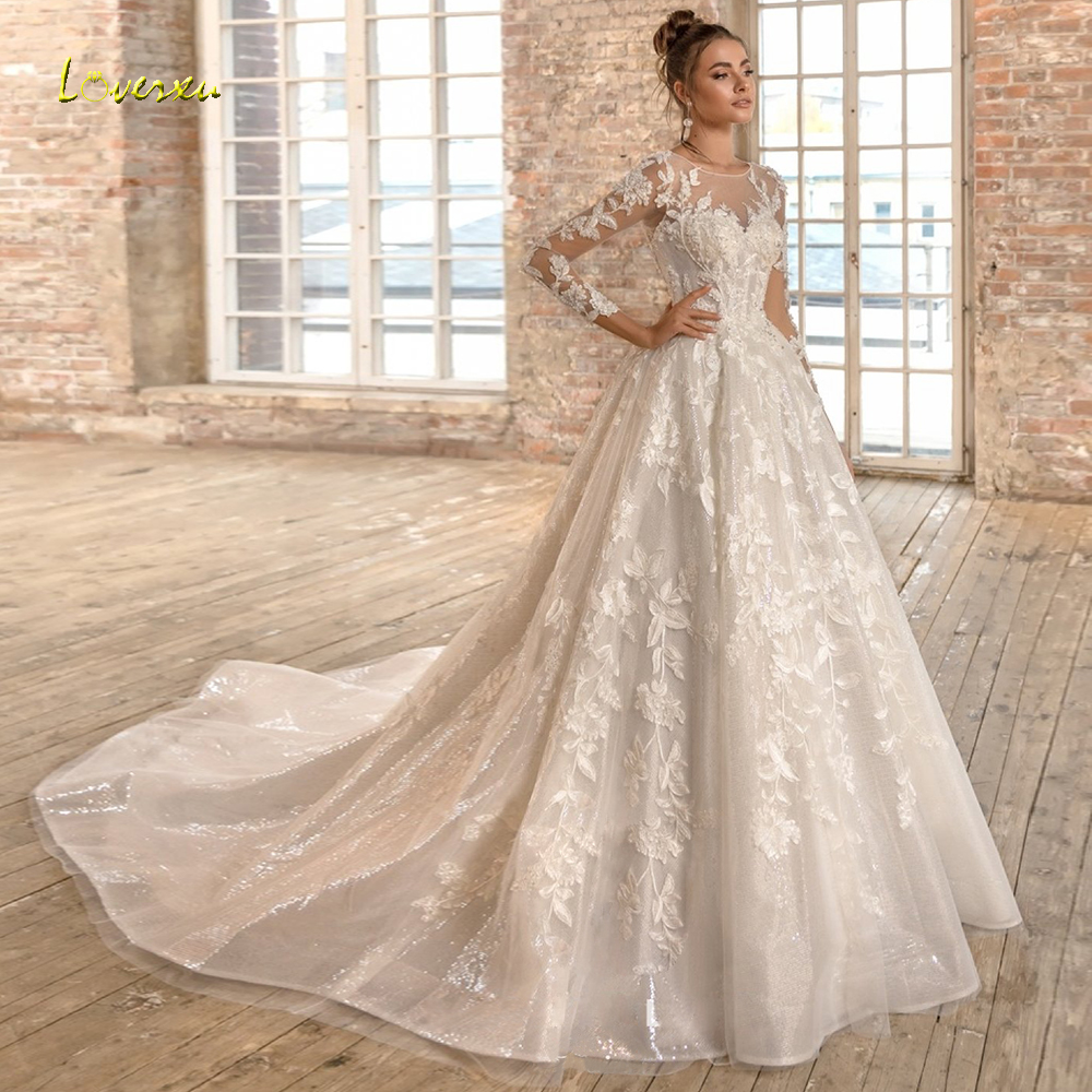 Loverxu Scoop Ball Gown Glitter Wedding Dresses 2019 Appliques Beading Long Sleeve Backless Bride Dress Chapel Train Bridal Gown