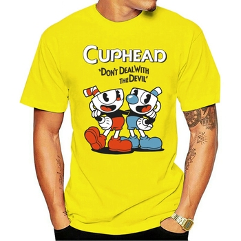 2021 Leisure Fashion 100% cotton O-neck T-shirt Cuphead Video Game Cartoon Mena Black Gift New From US image