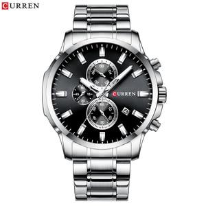 Image 4 - CURREN Relojes de pulsera con cronógrafo de cuarzo para hombre, Reloj de negocios informal, de acero inoxidable, con fecha, multifunción