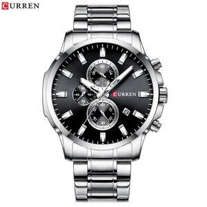 Image 4 - CURREN mode hommes Quartz chronographe montres décontracté montre daffaires en acier inoxydable horloge mâle Date Reloj multifuncion