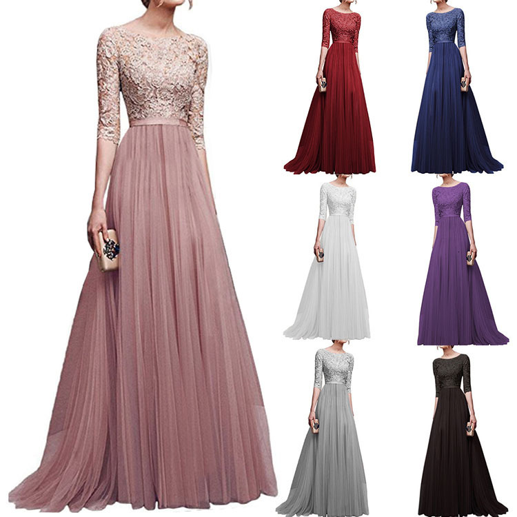 BacklakeGirls 2020 Elegant Scoop Neck Half Sleeve Ladies Chiffon Lace Evening Dress Long Vestido De Fiesta Largos De Noche