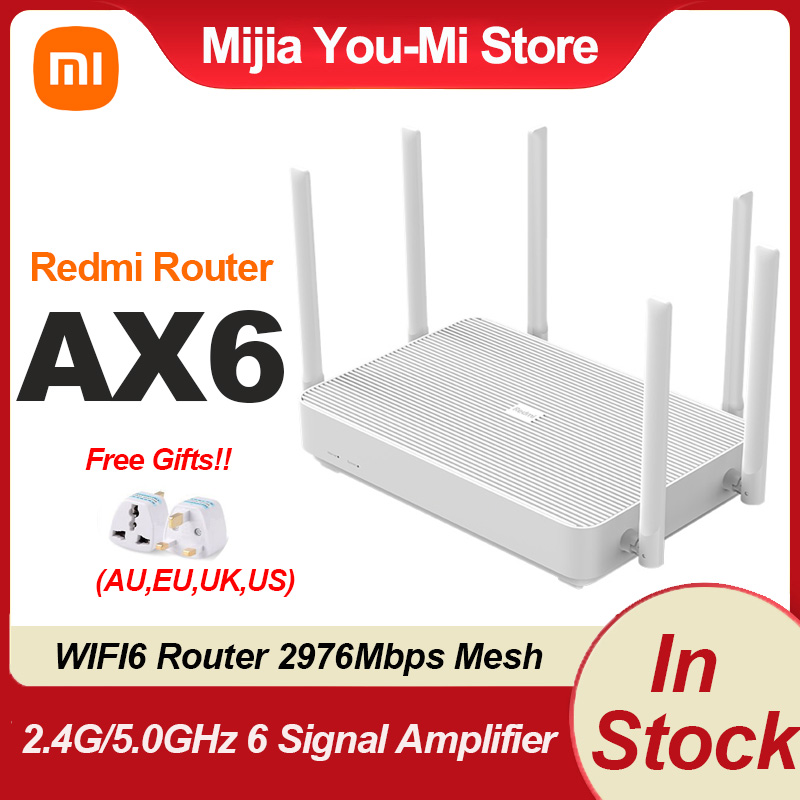 Xiaomi Redmi AX6 WIFI6 Router 2976Mbps Mesh Dual Bands 2.4G/5.0G OFDMA Efficient Transmission Signal Amplifier With EU Adapter
