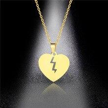 Heartbroken Crack Couple Titanium Steel Pendant Hypoallergenic Broken Heart Stainless Hip Hop Heart-shaped Necklace