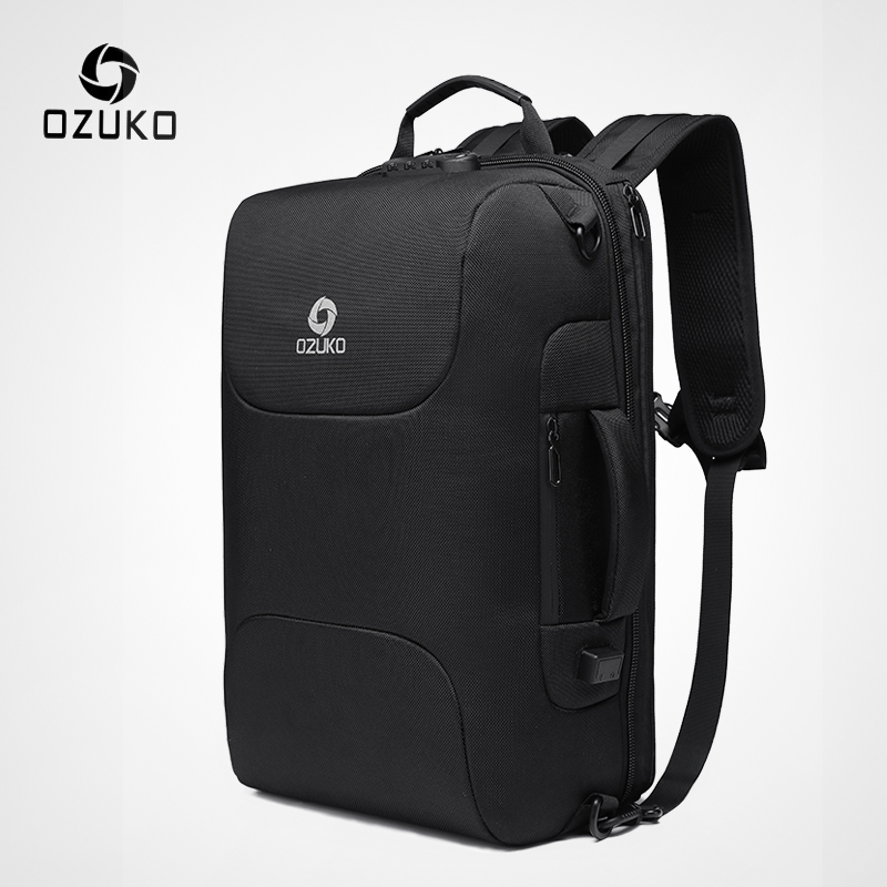 OZUKO New Men Anti Theft Backpack Casual 15.6 Inch Laptop Bags Male USB Charging Waterproof Backpacks Business Travel Mochila