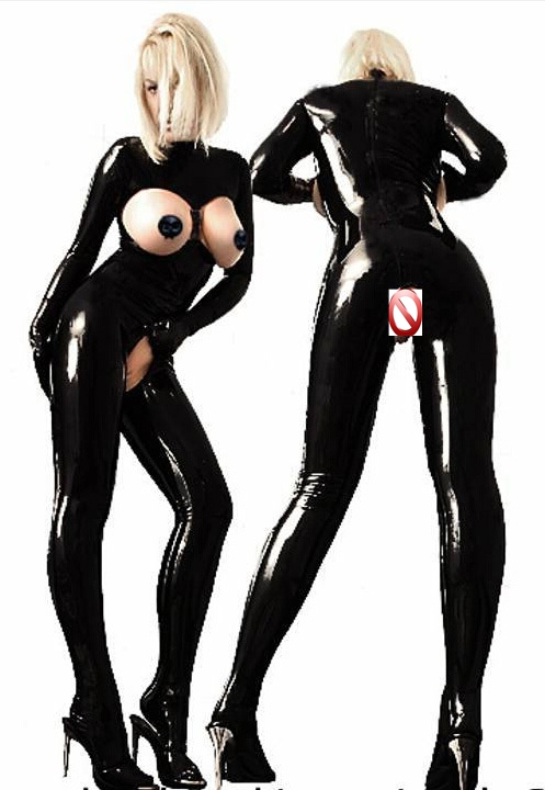 New Hot Sexy Women Exotic Costume Black Japanned Leather Jumpsuit Open Bust Bondady Latex Bodysuit Erotic Catwoman Catsuit