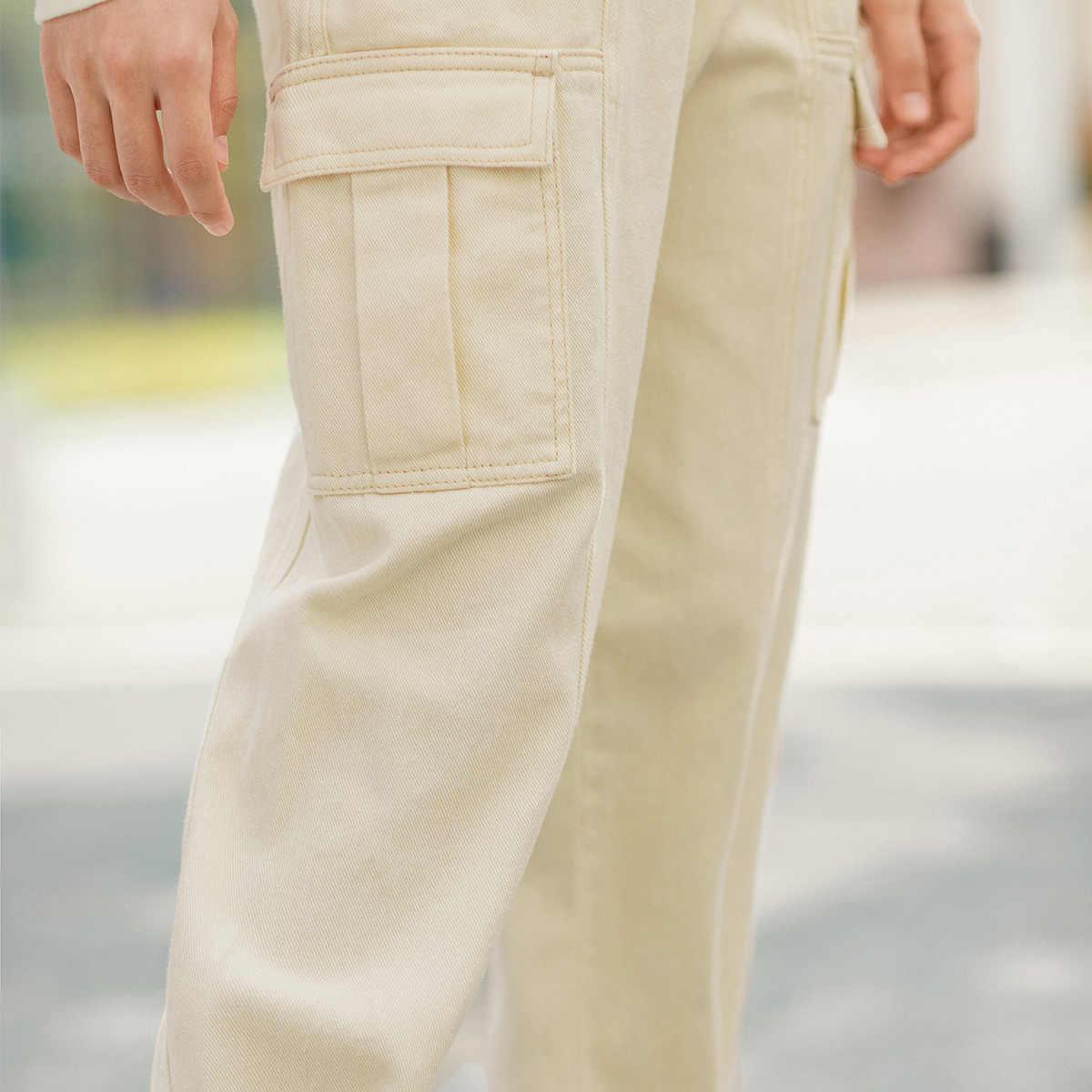 אינמן 2020 אביב חדש הגעה ספרותי גבוהה מותניים טהור כותנה סרבל סגנון Loose לפת pantaloons מכנסיים