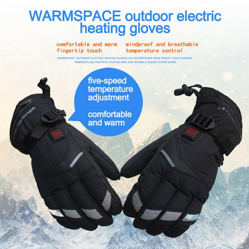 Windproof Skiing Motorcycle Heated Gloves Winter Warm Touch Screen Gloves Electric Warmers USB Powered For Men Women