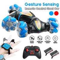 Coche todoterreno teledirigido 4WD con luz LED y gestos de inducción, juguete de derrape, giro de 2,4G, Control remoto, para niños