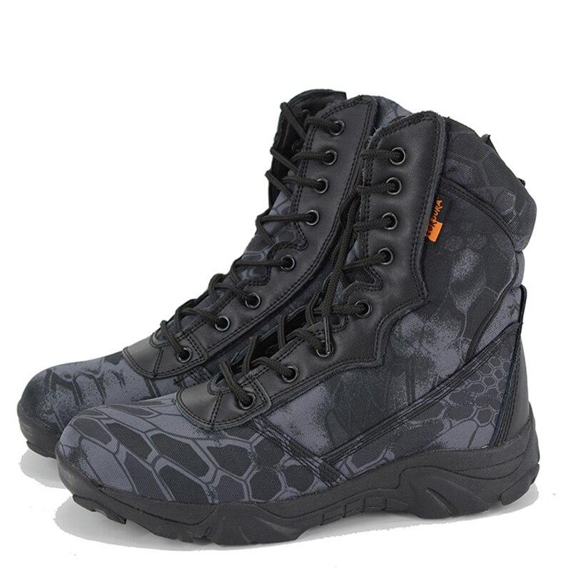 Bottes militaires Combat armée Camouflage 2019 chaussures d'hiver hommes Oxford tissu à lacets tactique botte de neige travail hommes chaussure 39-40