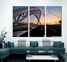 Modern Colorful Photo Picture bridge sunset black road Room Decor Cities Canvas Painting Living Bedroom