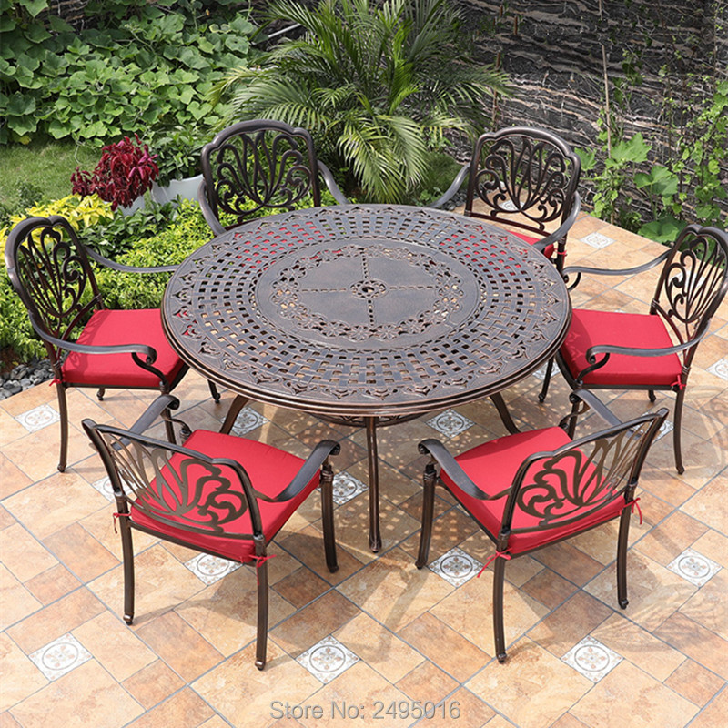 Set Of 7-piece Cast Aluminum Patio Dining Set Outdoor Furniture Dining Tables In Round Dia 150cm For Poolside Backyards
