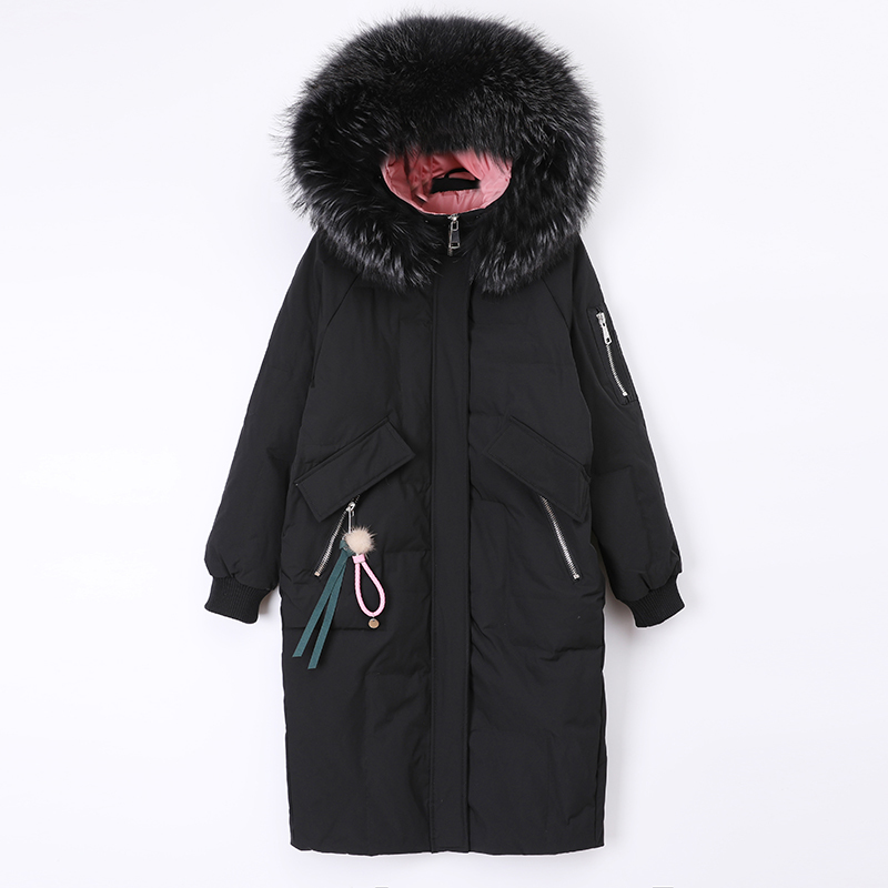 Women Winter Coats Female Thick White Duck Down Jackets Slim Long Down Parka Raccoon Fur Hooded Warm Clothes 2020 A8030