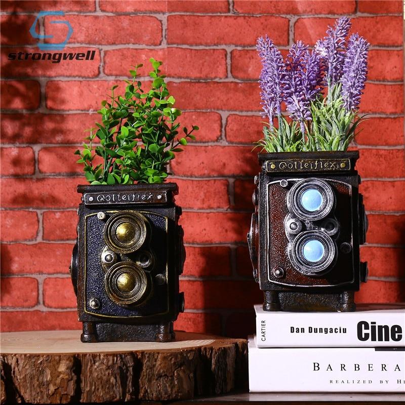 Strongwell Vintage Camera Model Flowerpot Storage Box Flower Pot Pen Holder Cube Camera Gift Novelty Craft Home Table Decor|Flower Pots & Planters| |  - title=