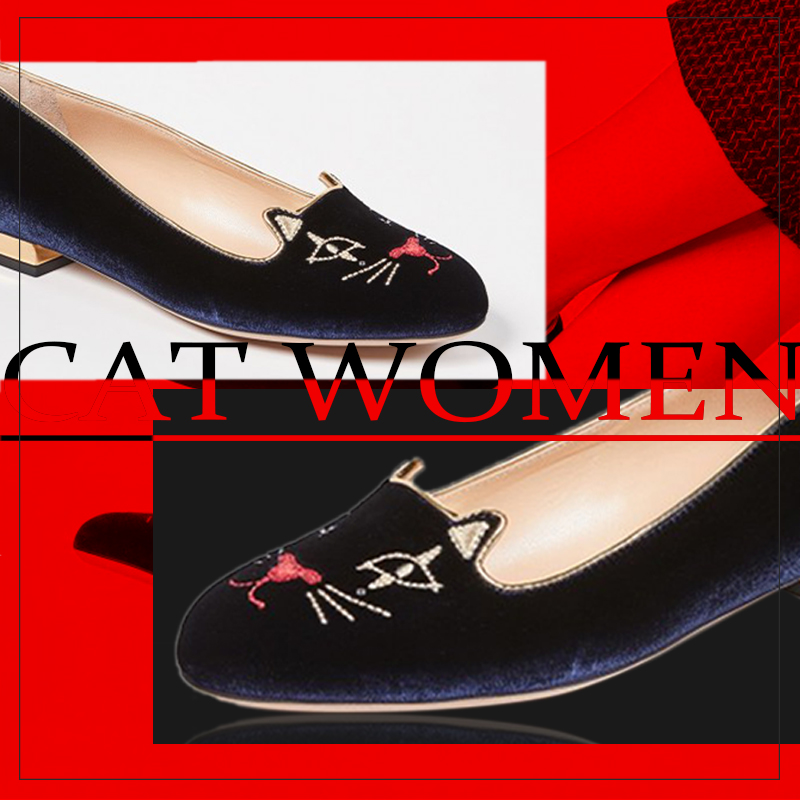 Navy Blue Cute Cat Flats Comfortable Elegant Shoes For Womens Spring Round Toe Outfit Large Size 15 16 Brand Footwear Outfit