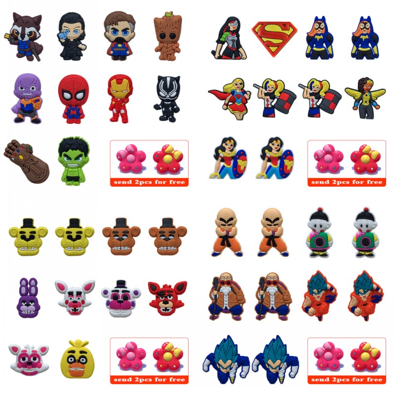 10pcs Dragon Ball Avengeres Super Girls PVC Shoe Charms Shoes Accessories Charms Fit Bracelets Croc Decorations JIBZ Kids Gift