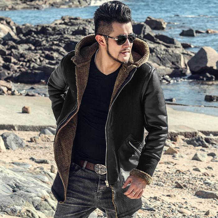 medium long imitation leather lambskin type men's fur Hooded Coat fur jacket f8303