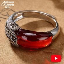 S925 Fine Antique shop Design Ruby Rings Women Handmade Vintage Natural Carnelian Retro Ruby red jasper Agate