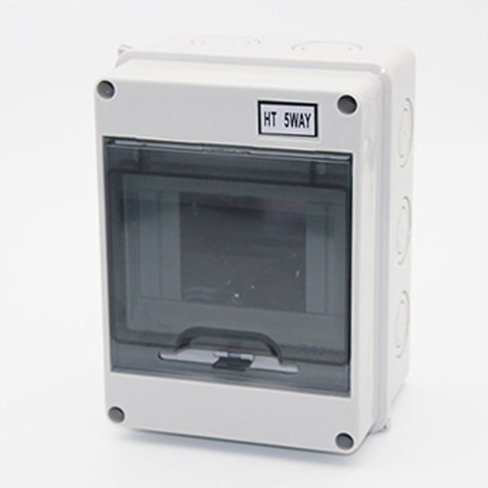 5 Way Plastic Electrical Distribution Box Waterproof MCB Box Panel Mounted Junction Box  HT Series