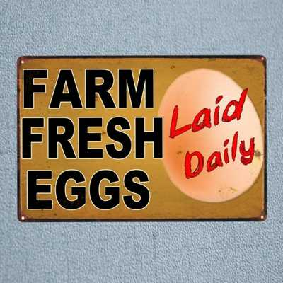 음식 계란 주석 징후 빈티지 아름 다운 세련 된 플 라크 회화 바 카페 홈 부엌 농장 금속 벽 아트 장식