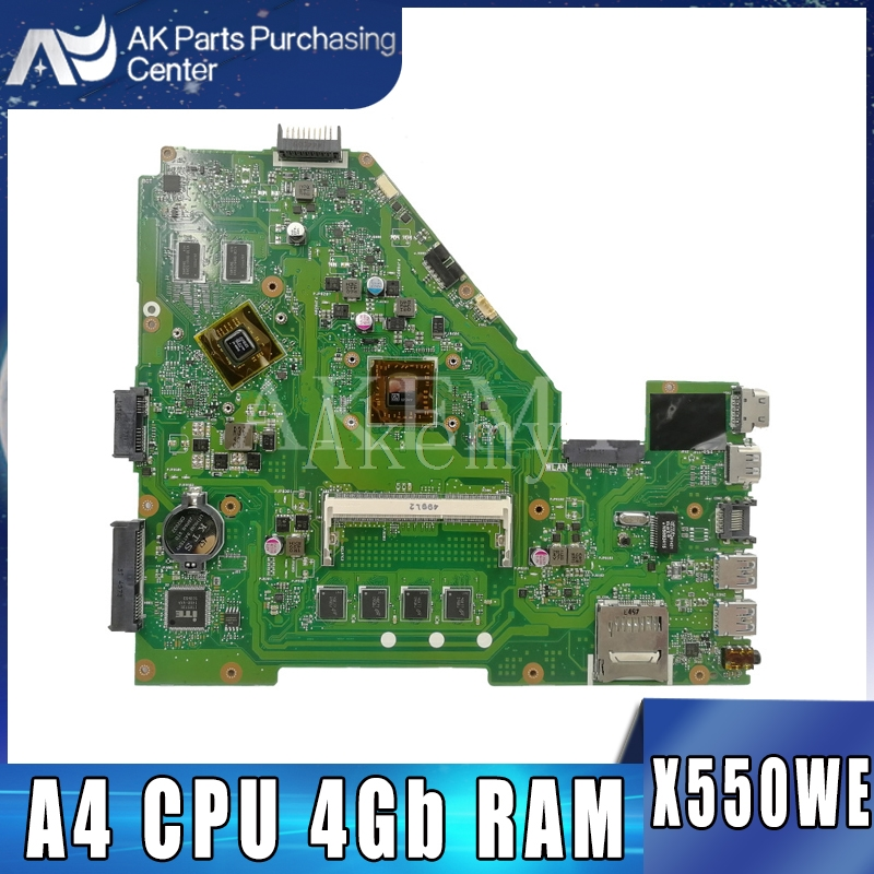 AKEMY X550WE Laptop Motherboard For ASUS X550W X550WE X550W D552W X552WE Original Mainboard A4 CPU 4Gb RAM