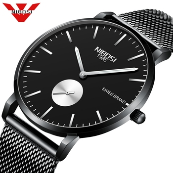 NIBOSI Watch men Waterproof Slim Mesh Strap Minimalist Wrist Watches For Men Quartz Sports Watch Clock Leisure Relogio Masculino