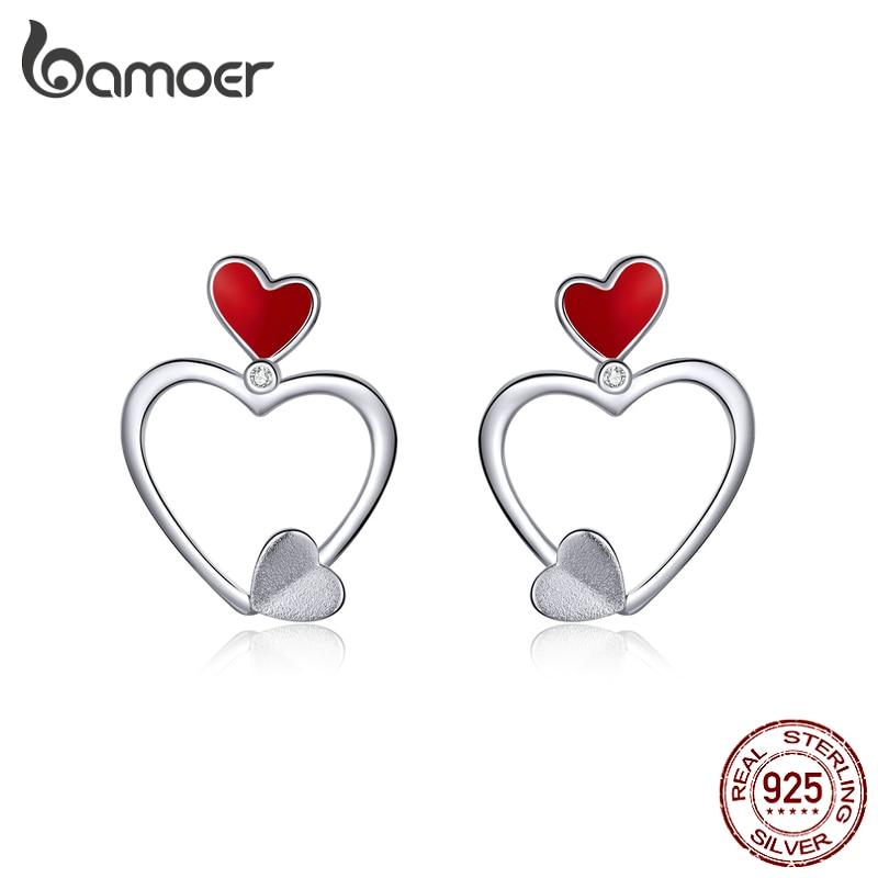 Bamoer 925 Sterling Silver Love Heart Dangle Earrings For Women Red Enamel Ear Drops Silver 925 Jewelry New Brincos SCE847