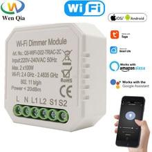 Dimmer inteligente interruptor de luz wi fi tuya vida inteligente app controle remoto 1/2 vias diy relé temporizador módulo trabalho com o google casa alexa