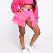 Neon Mesh Buckle Pleated Tulle Patchwork Mini Skirt SF