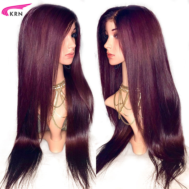 Burgundy Straight Pre Plucked 13x6 Deep Parts Lace Front Human Hair Wigs Ombre Remy Hair Glueless Brazilian Wigs 180 Density