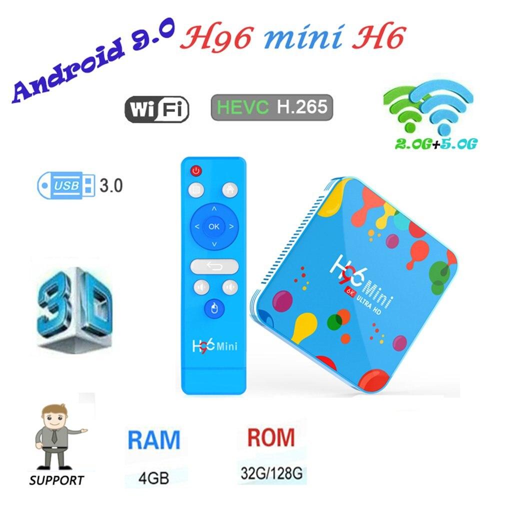 Boîtier Tv Portable multifonction H96 Mini décodeur 4 + 32G/4 + 128G Support 6K Android 9.0 Tv Box