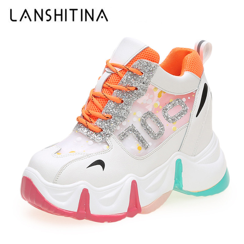 New 2020 Women Chunky Sneakers Summer Ladies Thick Sole 9.5CM Wedges Casual Shoes Woman Breathable Mesh Sports Vulcanize Shoes
