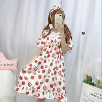 Kawaii girl gothic lolita op loli cos lovely strawberry printing sweet lolita dress summer vintage lace o neck victorian dress