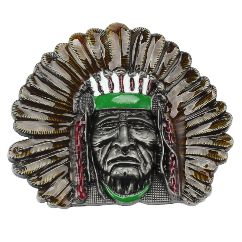 Indian Tribal Chief Head Belt Buckle Belt DIY Accessories Western Cowboy Style Smooth Belt Buckle  Punk Rock Style K3
